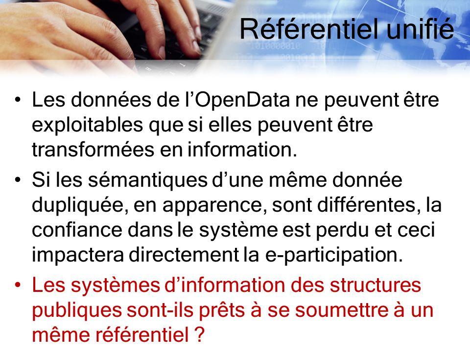 Référentiel unifié Les données de l'OpenData ne peuvent être exploitables que si elles peuvent être transformées en information.