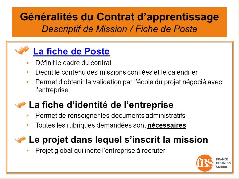 Généralités du Contrat d'apprentissage Descriptif de Mission / Fiche de Poste