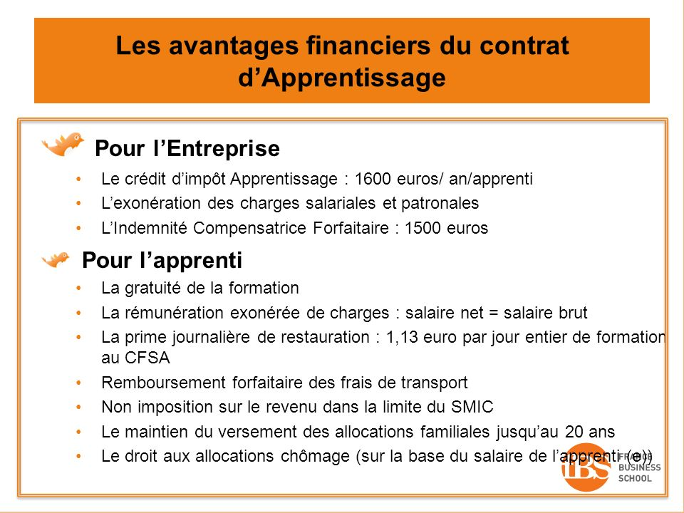 Les avantages financiers du contrat d'Apprentissage