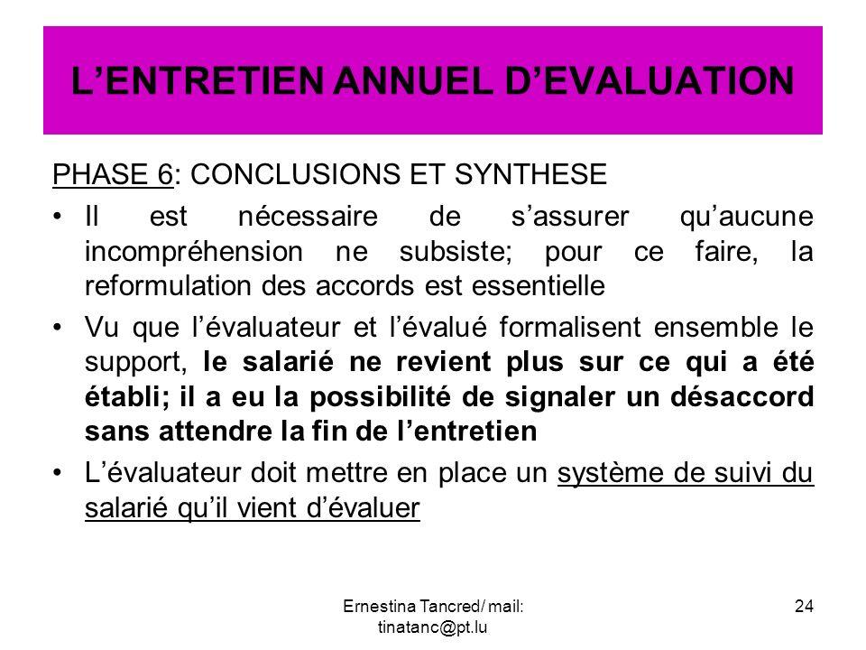 L'ENTRETIEN ANNUEL D'EVALUATION