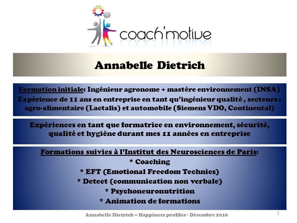 Annabelle Dietrich Formation initiale: Ingénieur agronome + mastère environnement (INSA)