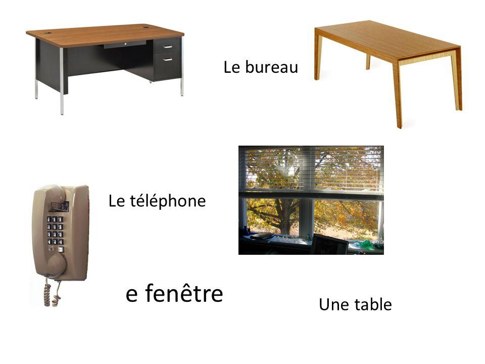 Le bureau Le téléphone Une fenêtre Une table