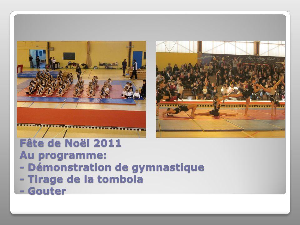 Fête de Noël 2011 Au programme: - Démonstration de gymnastique - Tirage de la tombola - Gouter