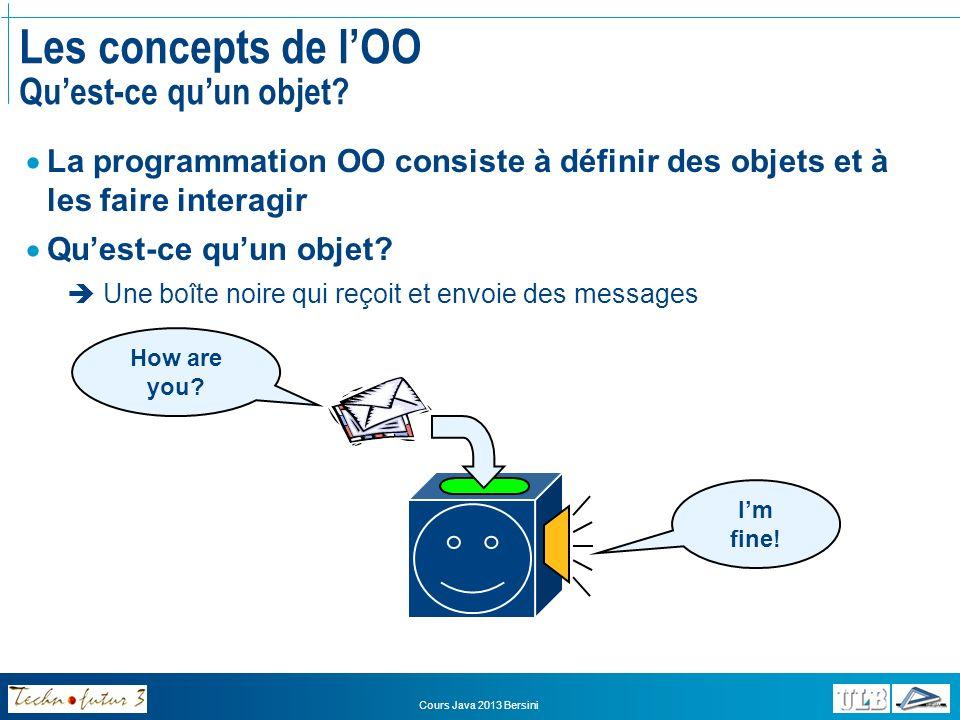 Les concepts de l'OO Qu'est-ce qu'un objet