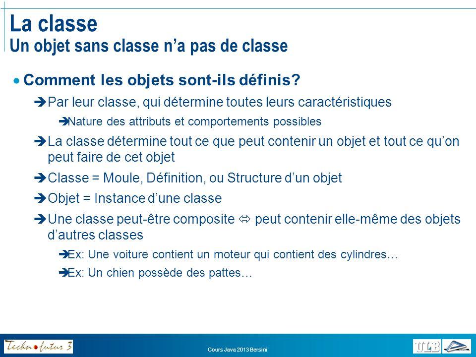 La classe Un objet sans classe n'a pas de classe