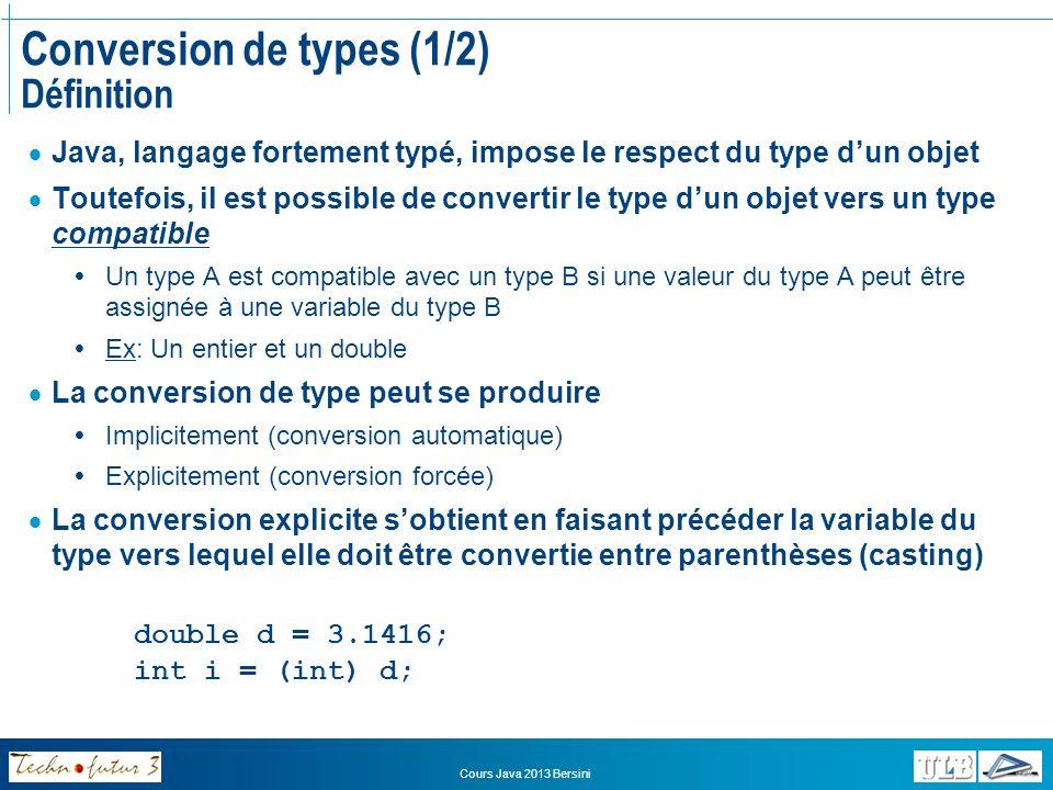 Conversion de types (1/2) Définition