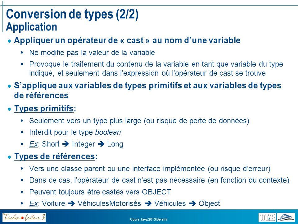 Conversion de types (2/2) Application