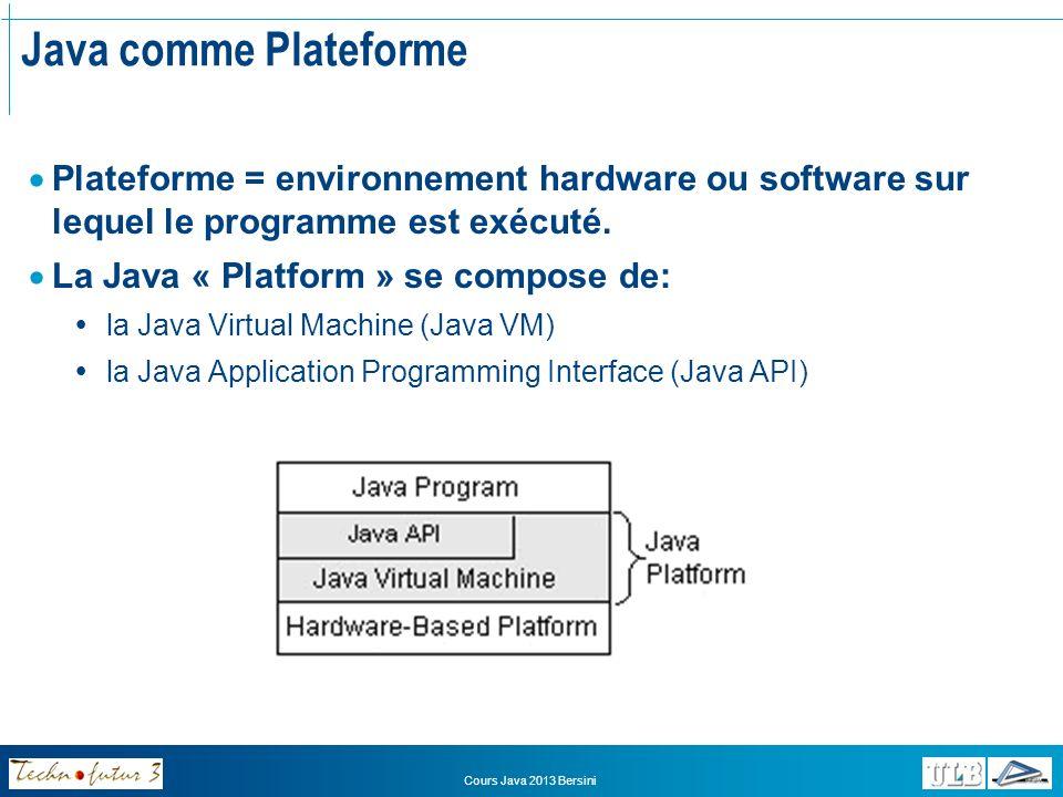 Java comme Plateforme Plateforme = environnement hardware ou software sur lequel le programme est exécuté.
