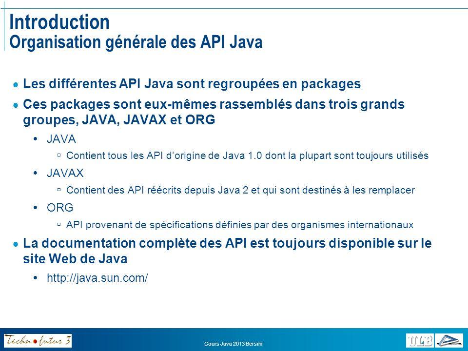 Introduction Organisation générale des API Java