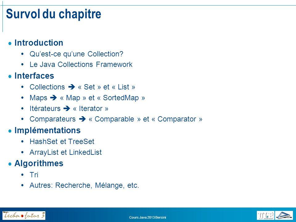 Survol du chapitre Introduction Interfaces Implémentations Algorithmes