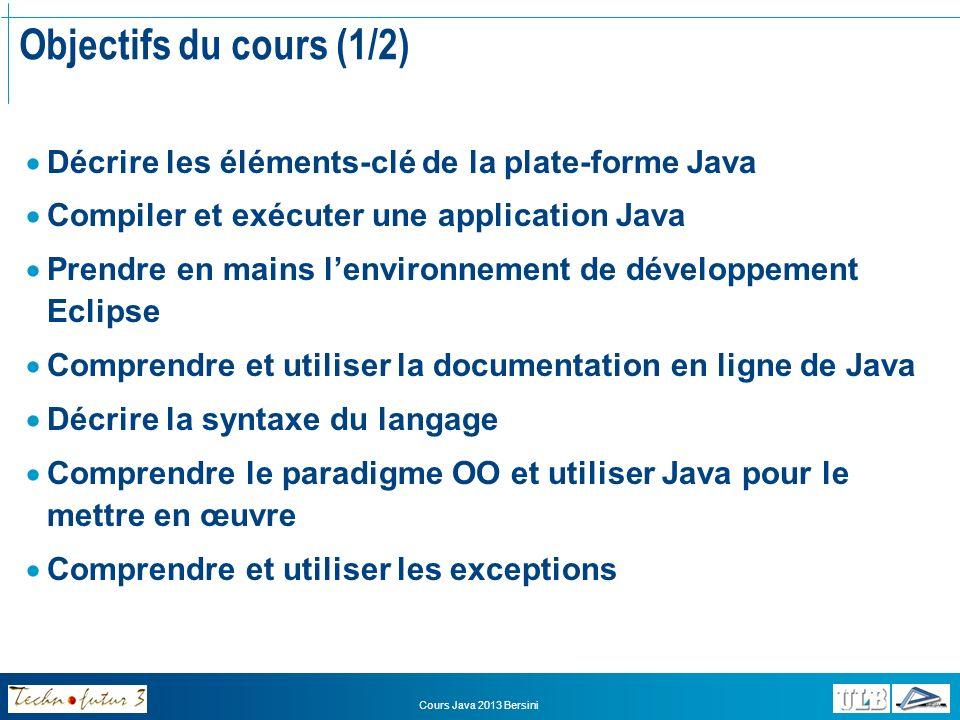 Objectifs du cours (1/2) Décrire les éléments-clé de la plate-forme Java. Compiler et exécuter une application Java.
