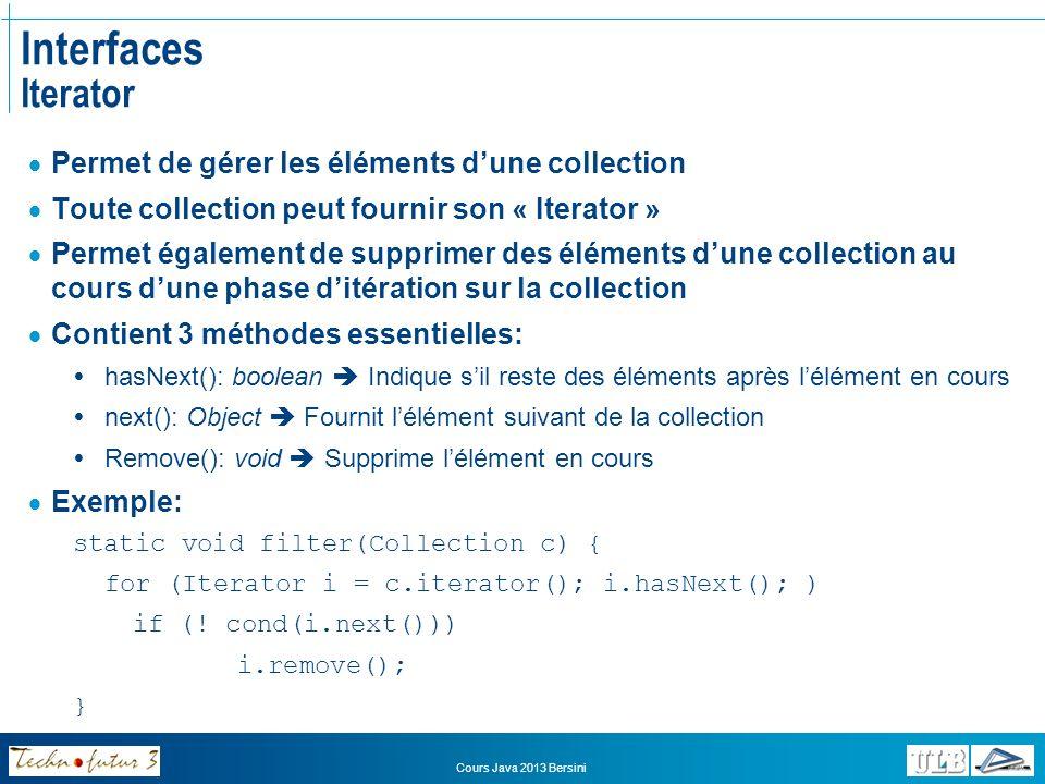 Interfaces Iterator Permet de gérer les éléments d'une collection