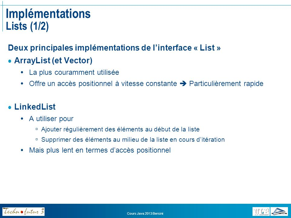 Implémentations Lists (1/2)