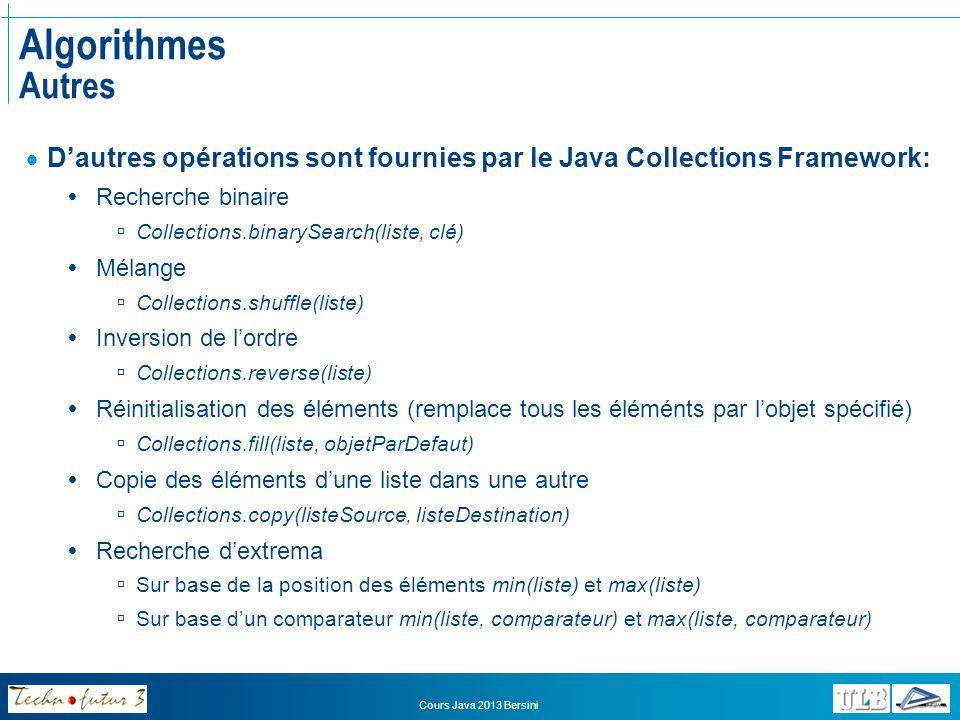 Algorithmes Autres D'autres opérations sont fournies par le Java Collections Framework: Recherche binaire.