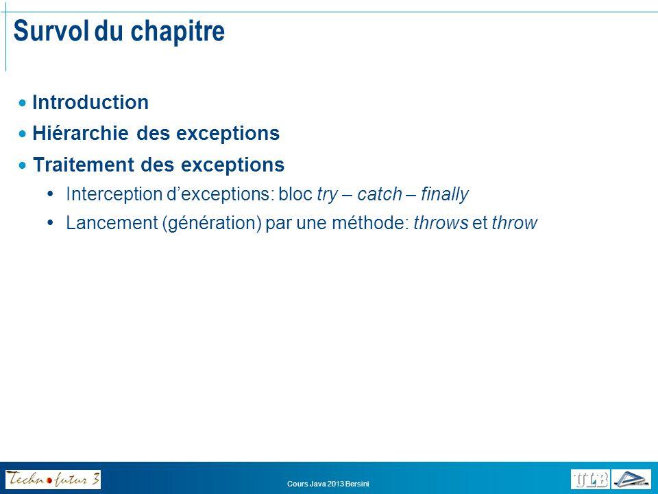 Survol du chapitre Introduction Hiérarchie des exceptions