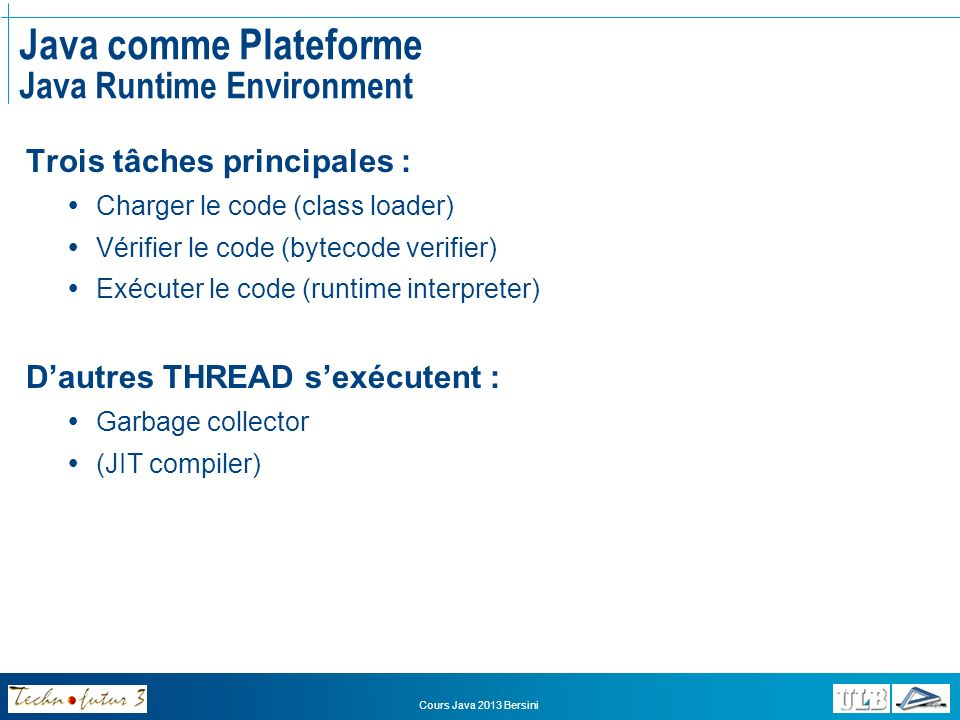 Java comme Plateforme Java Runtime Environment