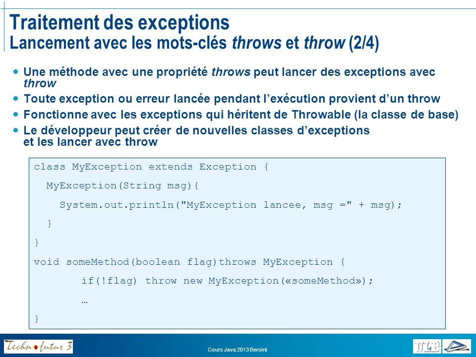 Traitement des exceptions Lancement avec les mots-clés throws et throw (2/4)