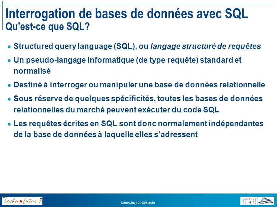 Interrogation de bases de données avec SQL Qu'est-ce que SQL