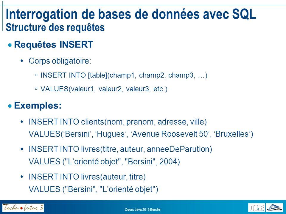 Interrogation de bases de données avec SQL Structure des requêtes