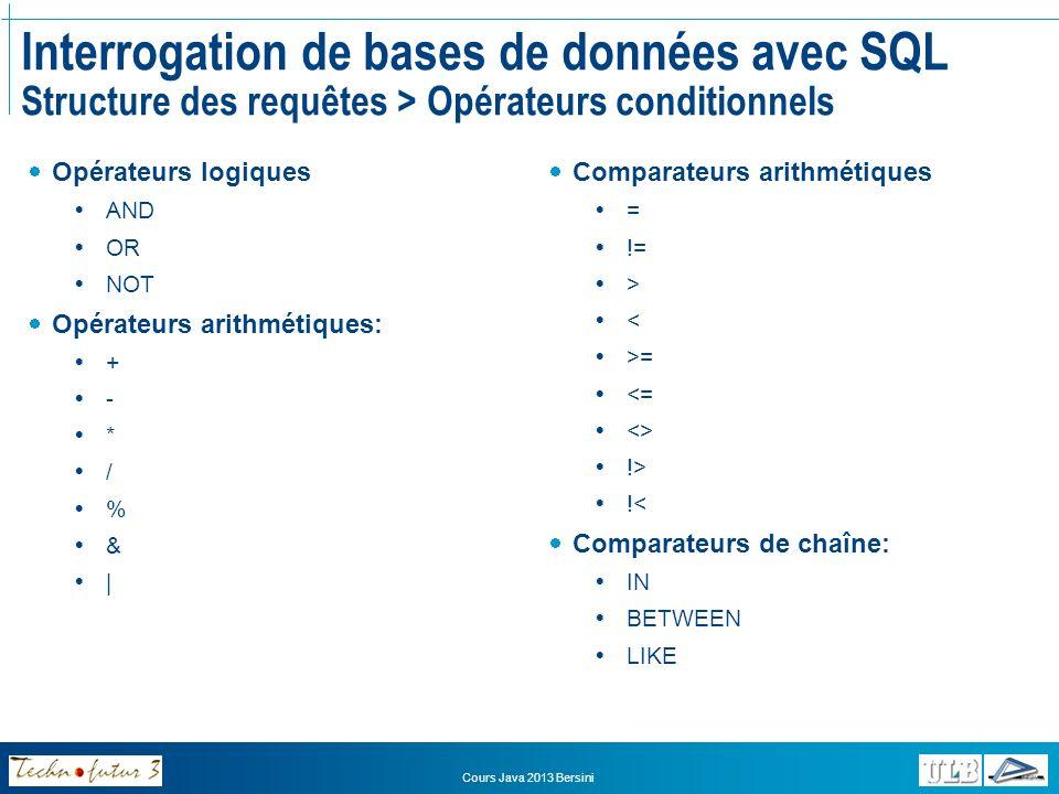 Interrogation de bases de données avec SQL Structure des requêtes > Opérateurs conditionnels