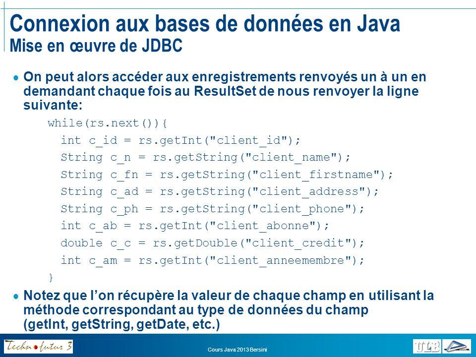 Connexion aux bases de données en Java Mise en œuvre de JDBC