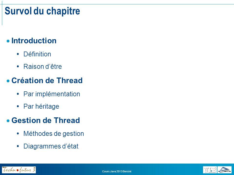 Survol du chapitre Introduction Création de Thread Gestion de Thread