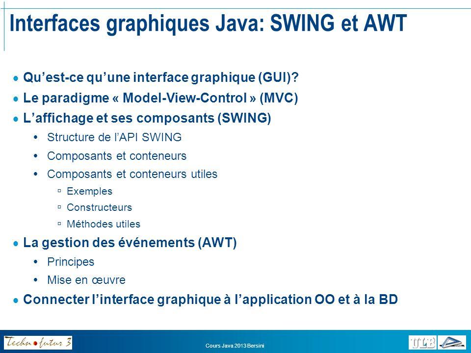 Interfaces graphiques Java: SWING et AWT