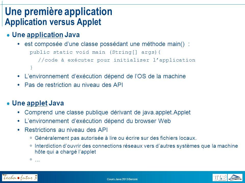 Une première application Application versus Applet