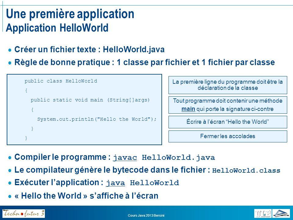 Une première application Application HelloWorld