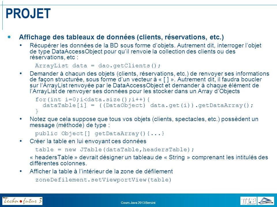 PROJET Affichage des tableaux de données (clients, réservations, etc.)