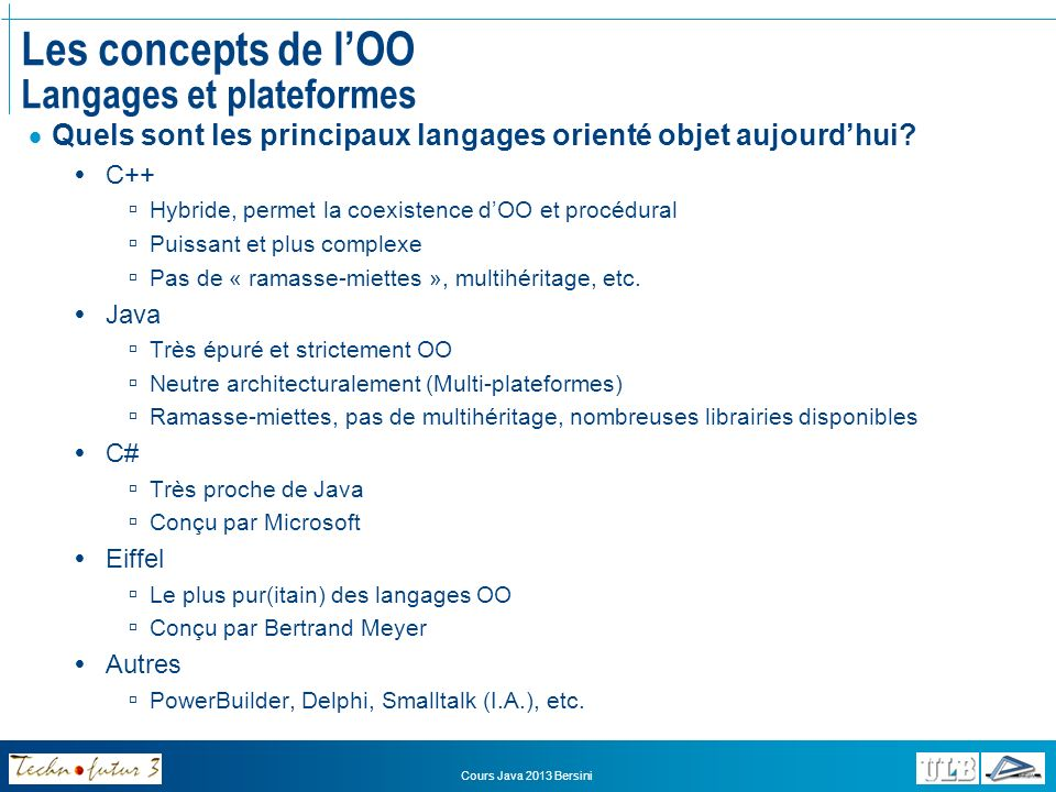 Les concepts de l'OO Langages et plateformes
