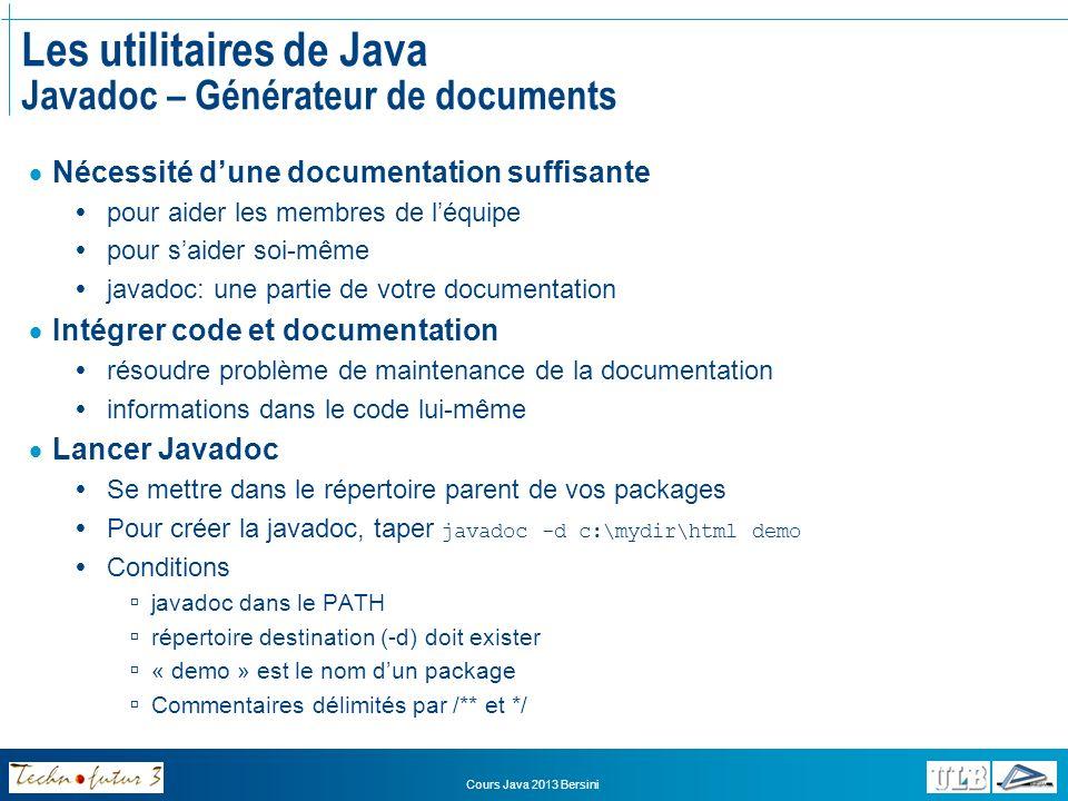 Les utilitaires de Java Javadoc – Générateur de documents