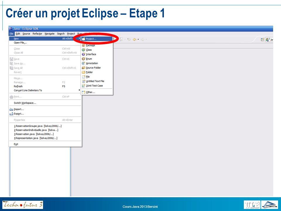 Créer un projet Eclipse – Etape 1