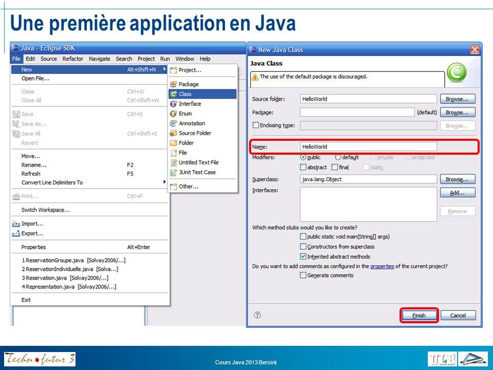 Une première application en Java