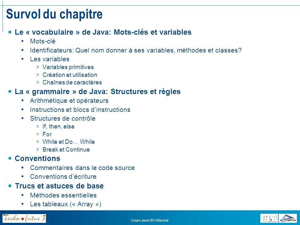 Survol du chapitre Le « vocabulaire » de Java: Mots-clés et variables