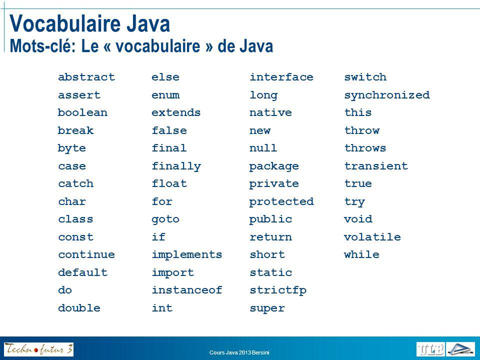 Vocabulaire Java Mots-clé: Le « vocabulaire » de Java