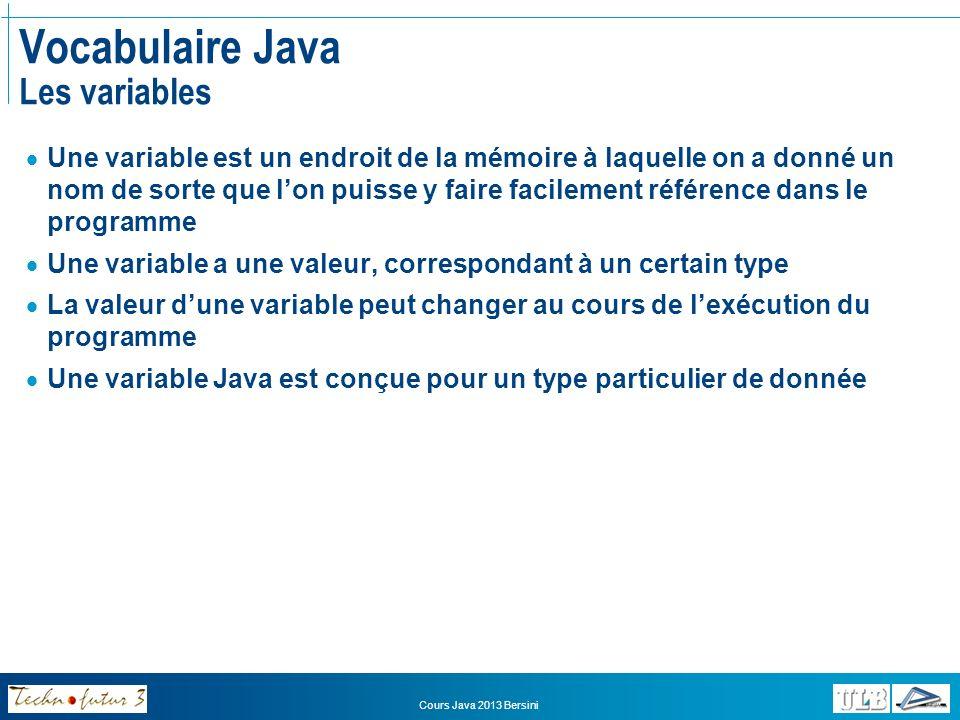 Vocabulaire Java Les variables