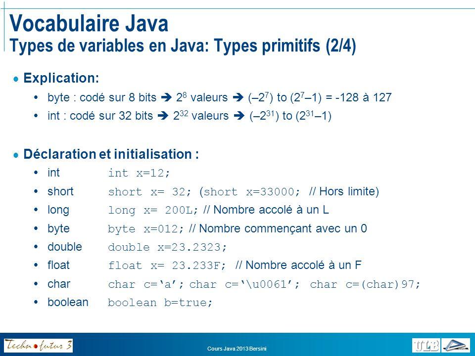 Vocabulaire Java Types de variables en Java: Types primitifs (2/4)