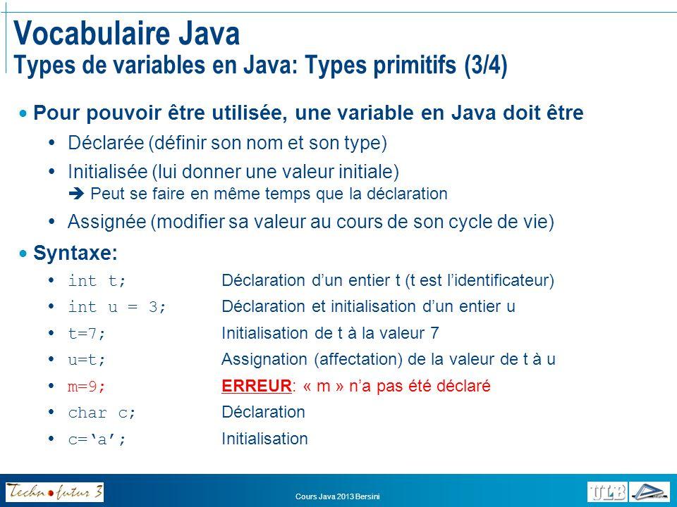 Vocabulaire Java Types de variables en Java: Types primitifs (3/4)