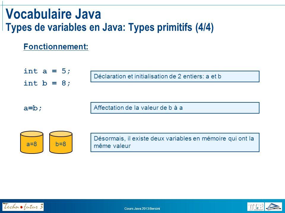 Vocabulaire Java Types de variables en Java: Types primitifs (4/4)