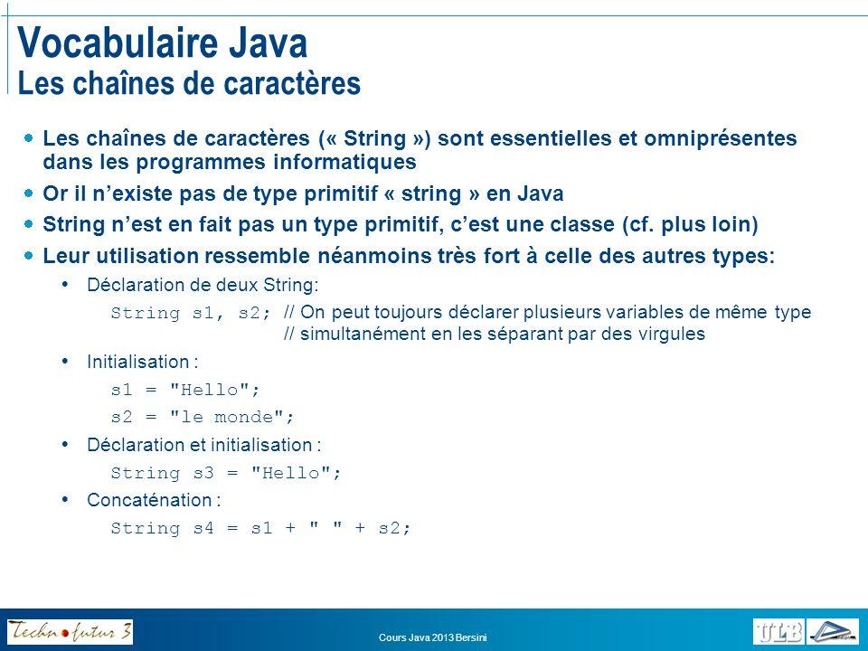 Vocabulaire Java Les chaînes de caractères