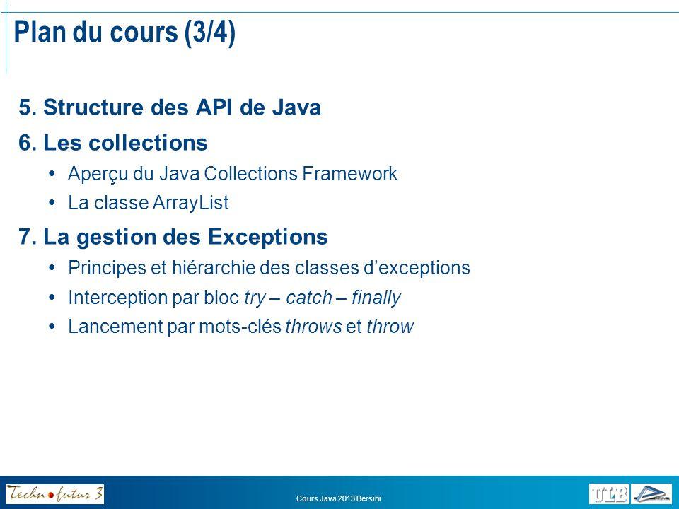 Plan du cours (3/4) 5. Structure des API de Java 6. Les collections