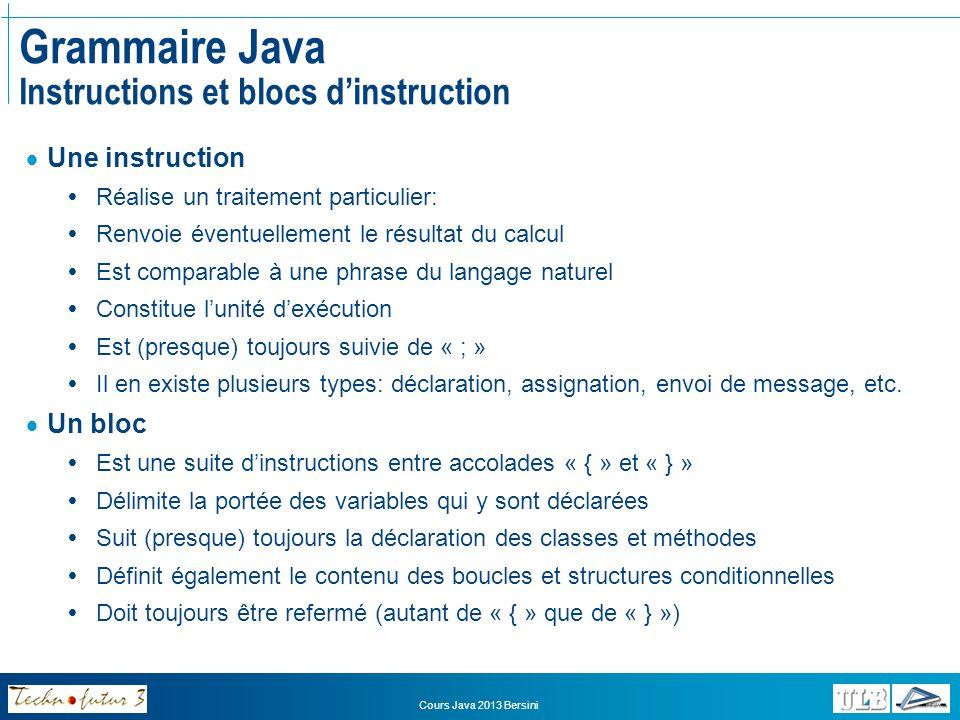 Grammaire Java Instructions et blocs d'instruction