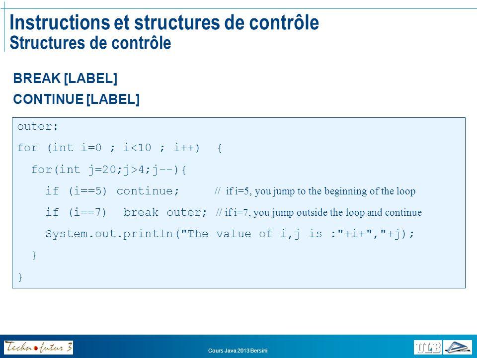 Instructions et structures de contrôle Structures de contrôle