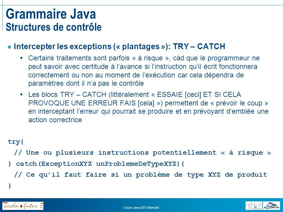 Grammaire Java Structures de contrôle