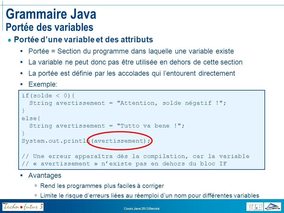 Grammaire Java Portée des variables