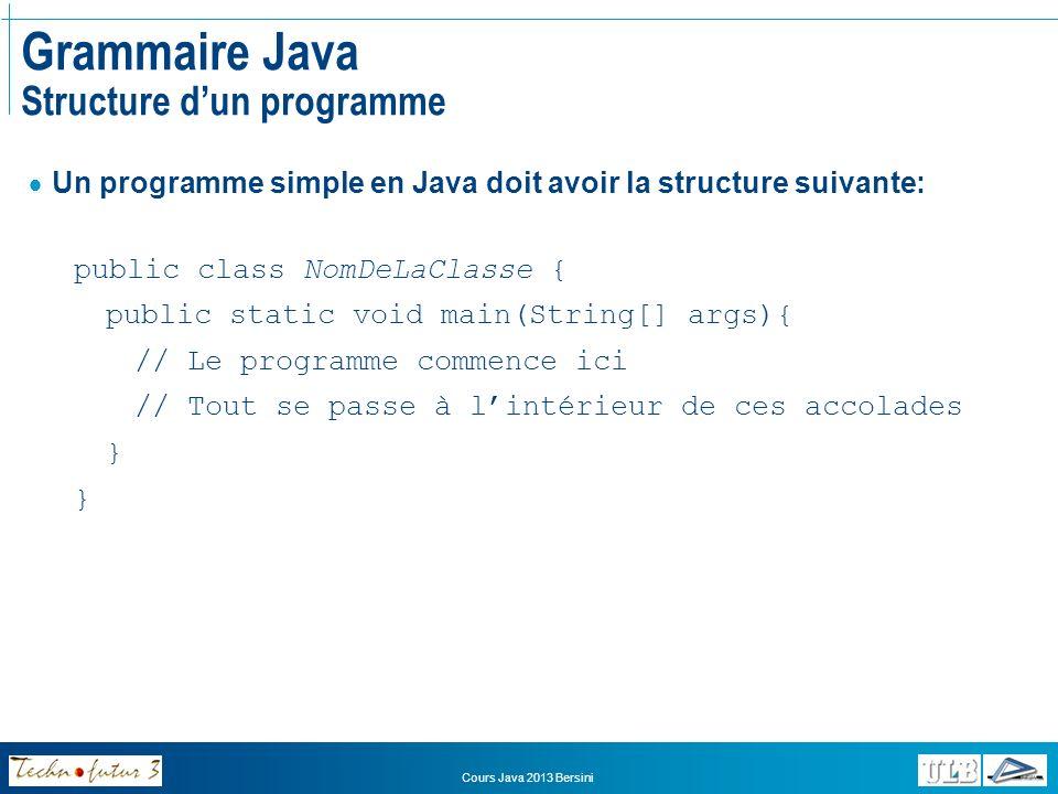 Grammaire Java Structure d'un programme