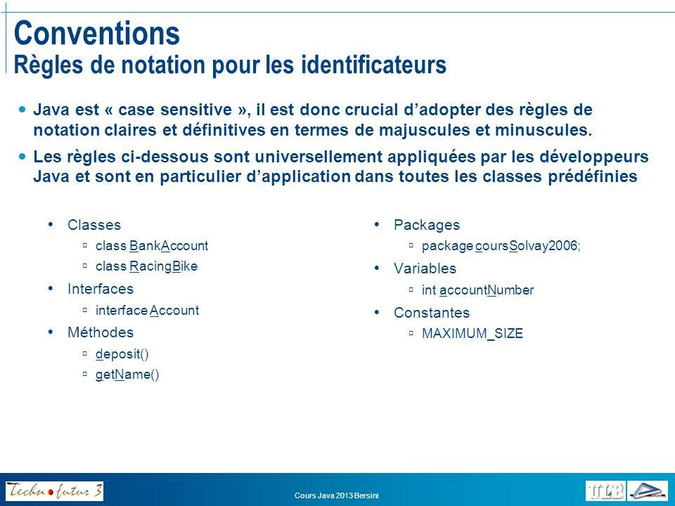 Conventions Règles de notation pour les identificateurs