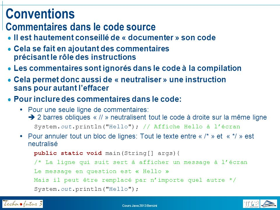 Conventions Commentaires dans le code source