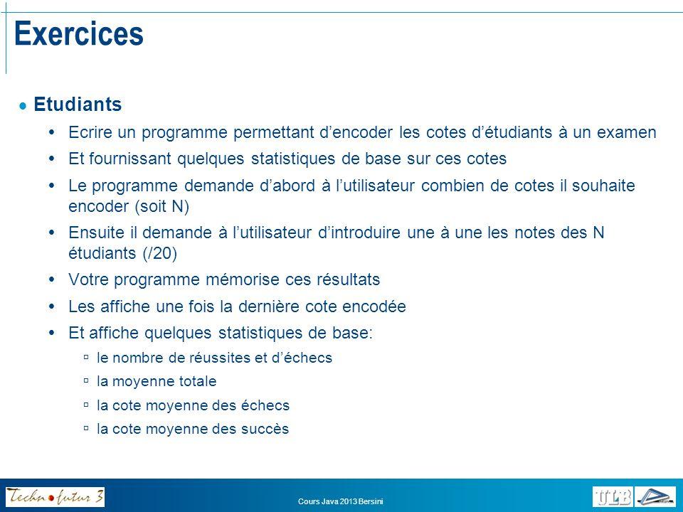 Exercices Etudiants. Ecrire un programme permettant d'encoder les cotes d'étudiants à un examen.